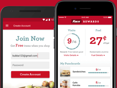 Screenshot of the Kwik Trip iOS and Android Applications